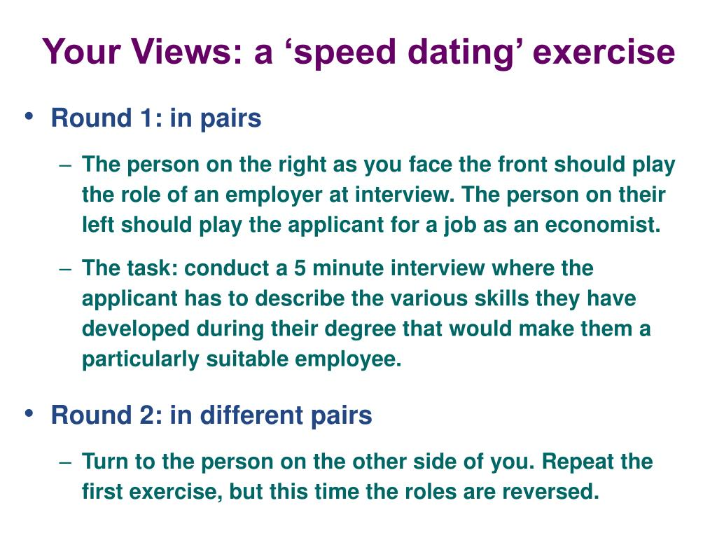 Your Views: a 'speed dating' exercise