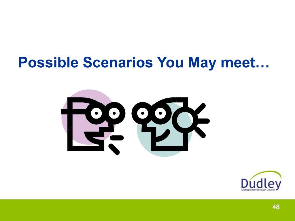 Possible Scenarios You May meet…