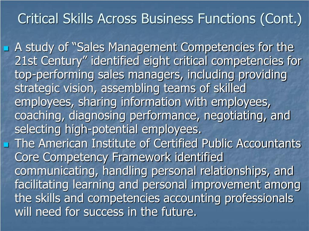 Critical Skills Across Business Functions (Cont.)