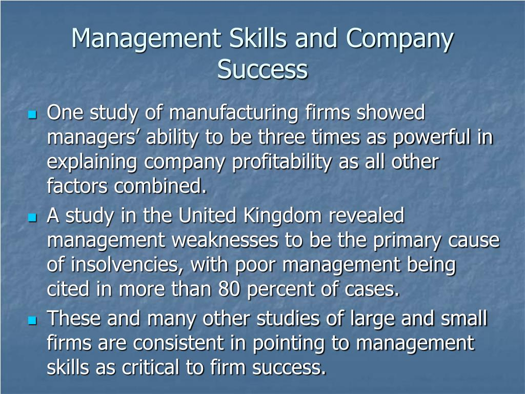 Management Skills and Company Success