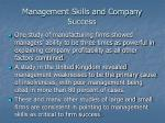 management skills and company success