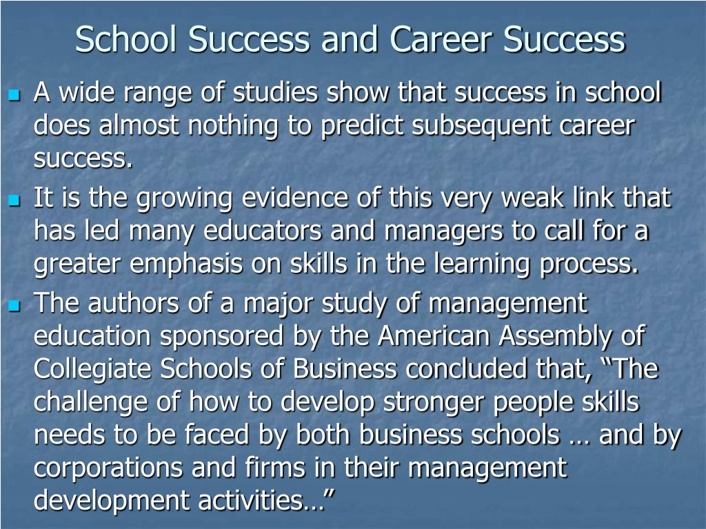 School Success and Career Success