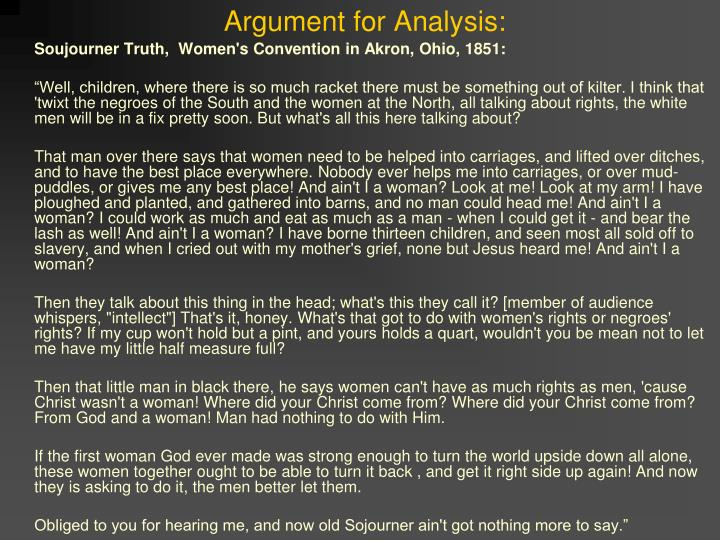 Argument for analysis