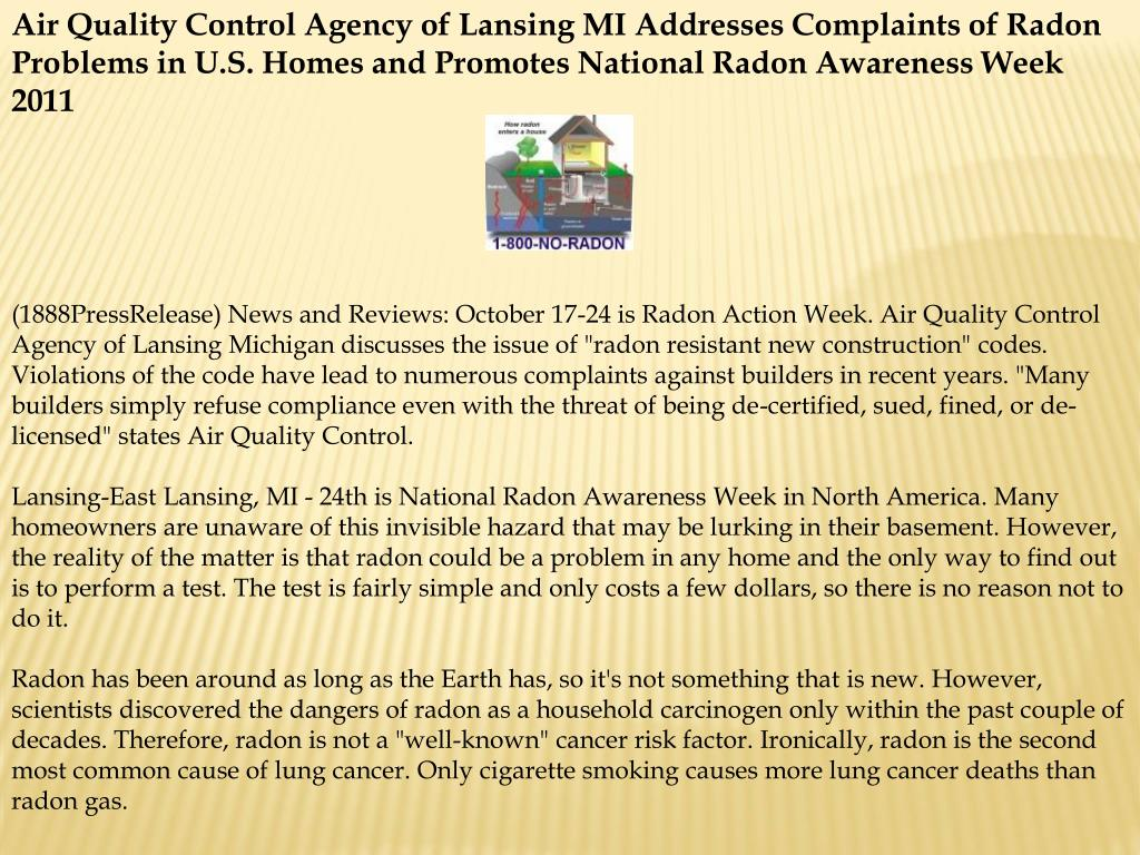 Air Quality Control Agency of Lansing MI Addresses Complaints of Radon Problems in U.S. Homes and Promotes National Radon Awareness Week 2011