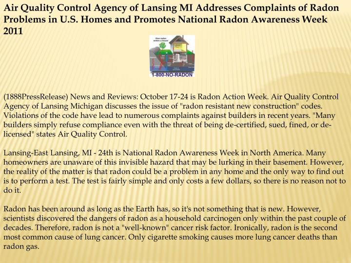 Air Quality Control Agency of Lansing MI Addresses Complaints of Radon Problems in U.S. Homes and Pr...