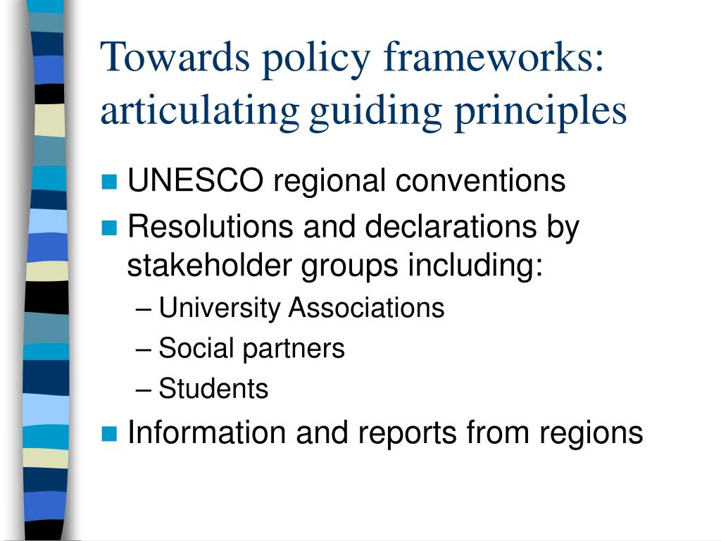 Towards policy frameworks: articulating