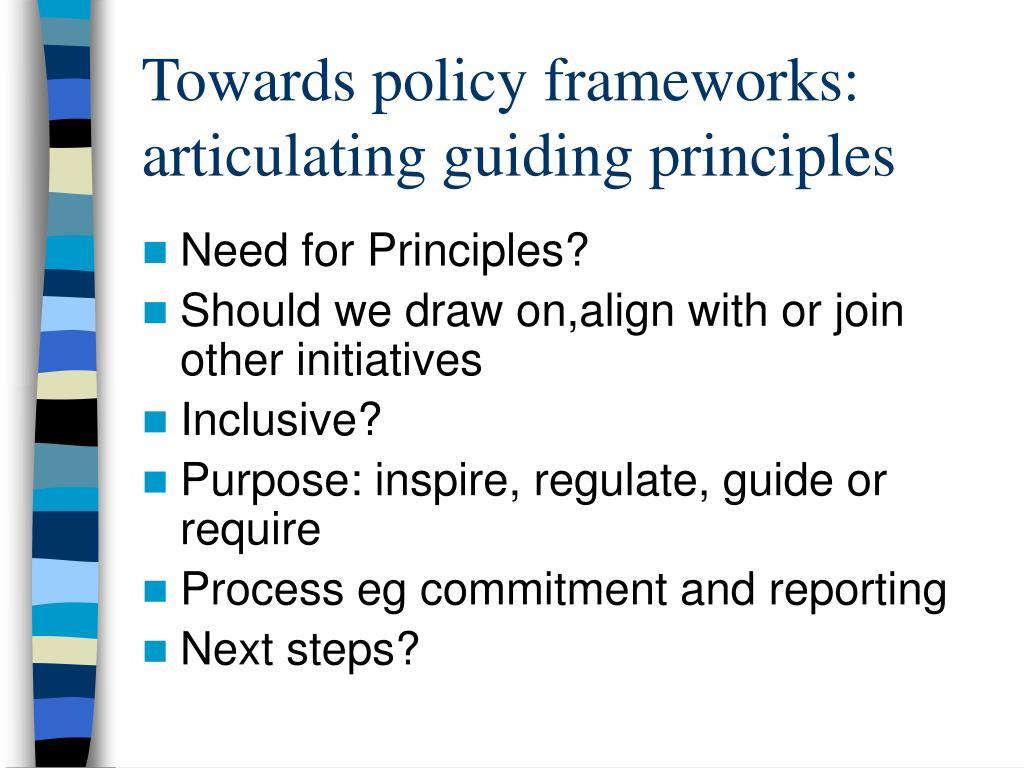 Towards policy frameworks: articulating guiding principles
