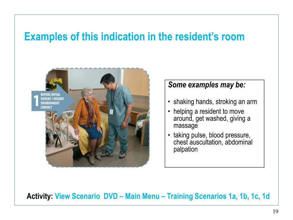 Examples of this indication in the resident's room