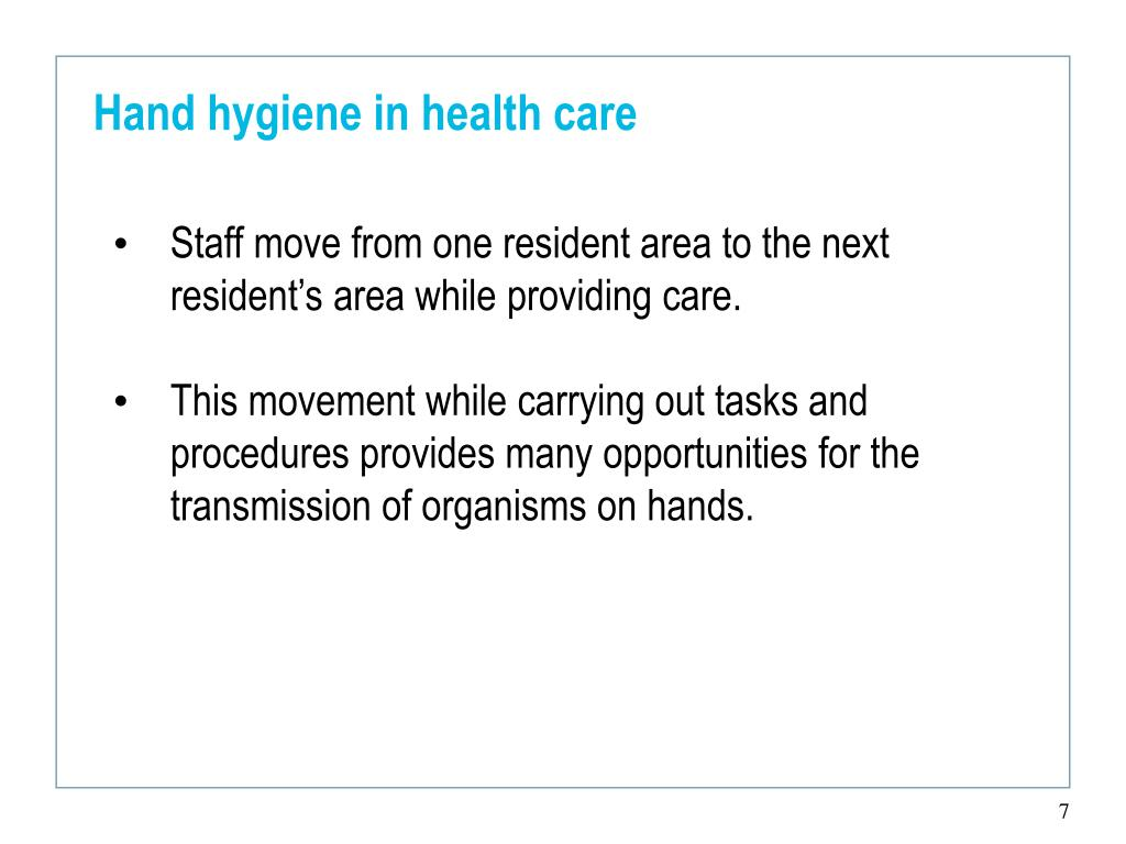 Hand hygiene in health care