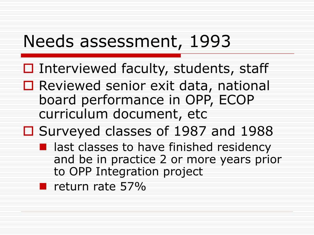 Needs assessment, 1993