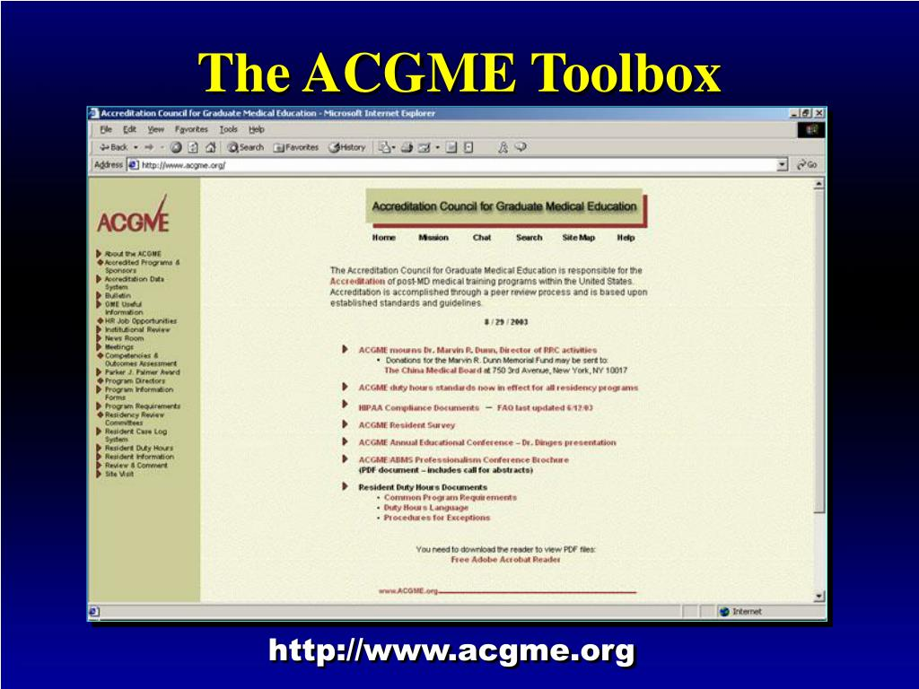 The ACGME Toolbox