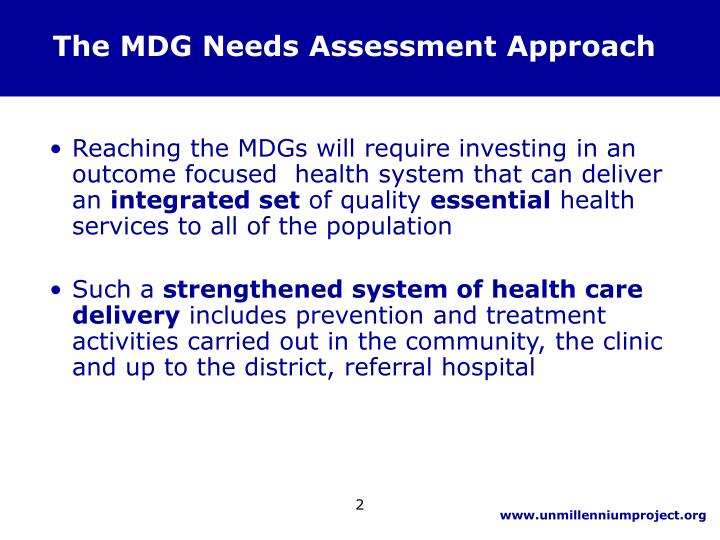 The mdg needs assessment approach
