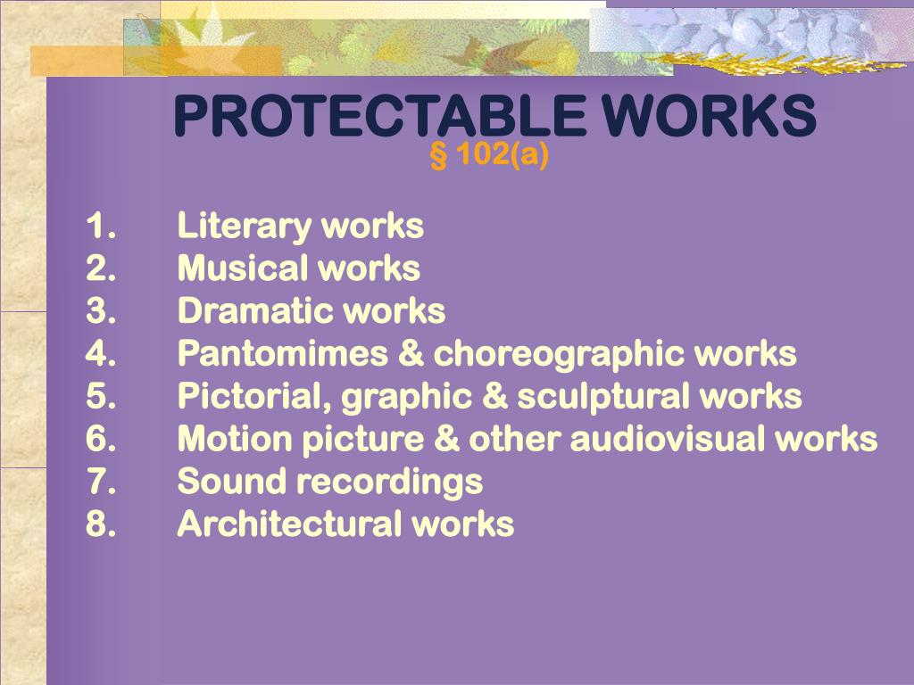 PROTECTABLE WORKS