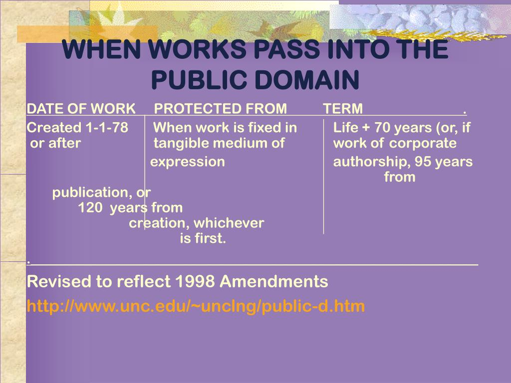 WHEN WORKS PASS INTO THE PUBLIC DOMAIN