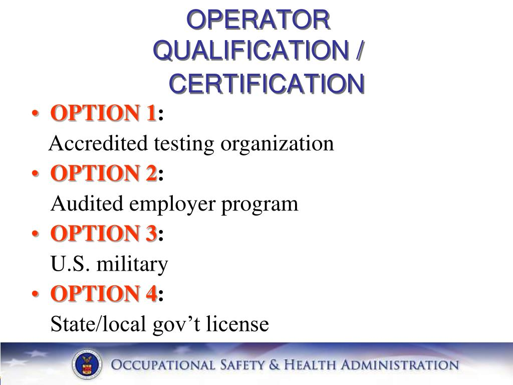 OPERATOR QUALIFICATION /