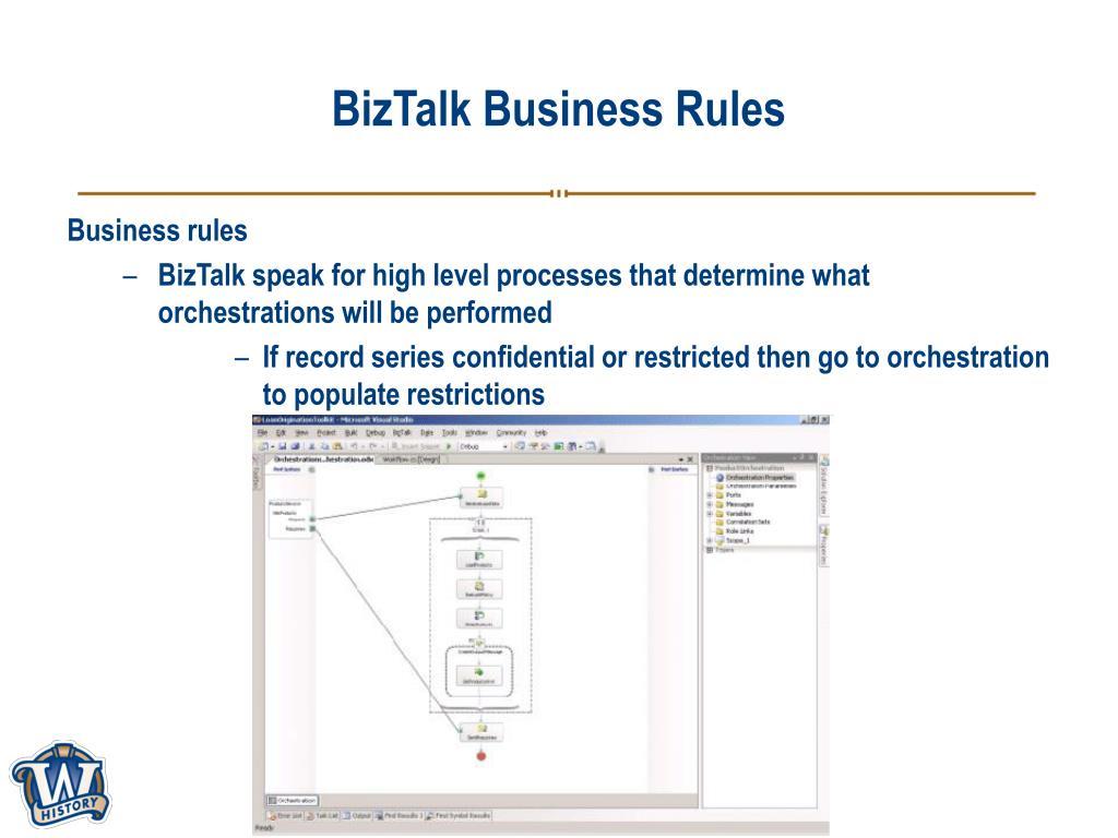 BizTalk Business Rules