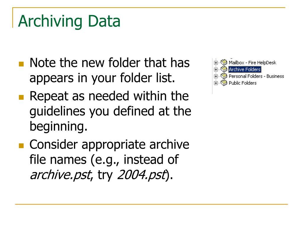 Archiving Data