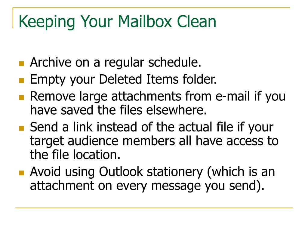 Keeping Your Mailbox Clean