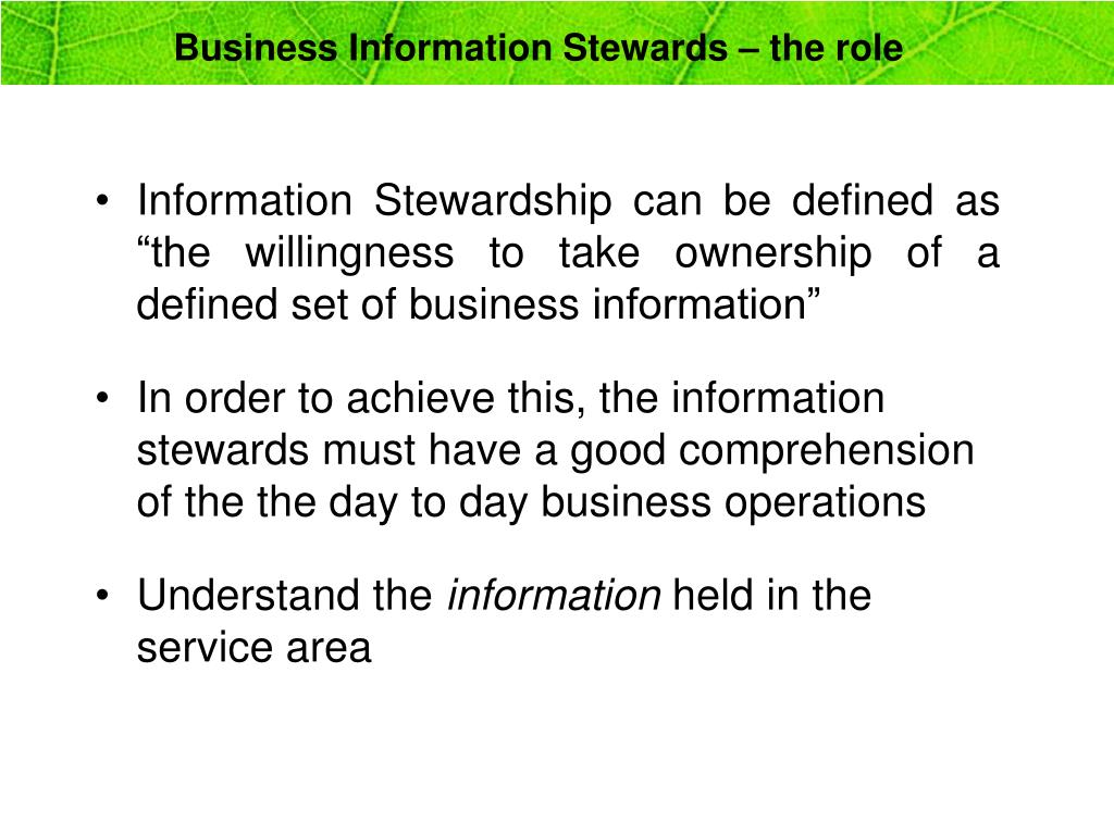 Business Information Stewards – the role