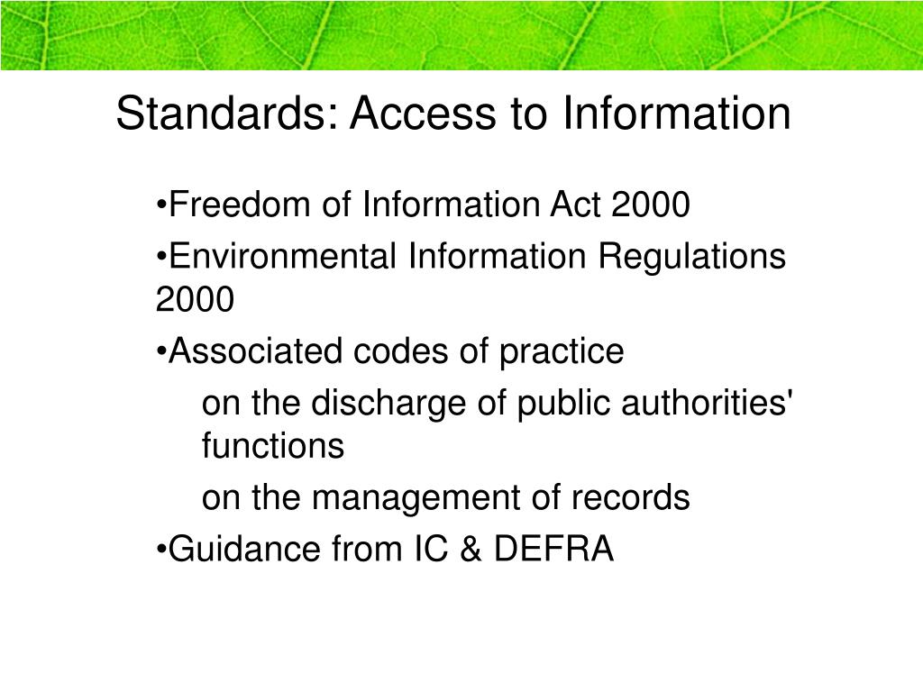 Standards: Access to Information