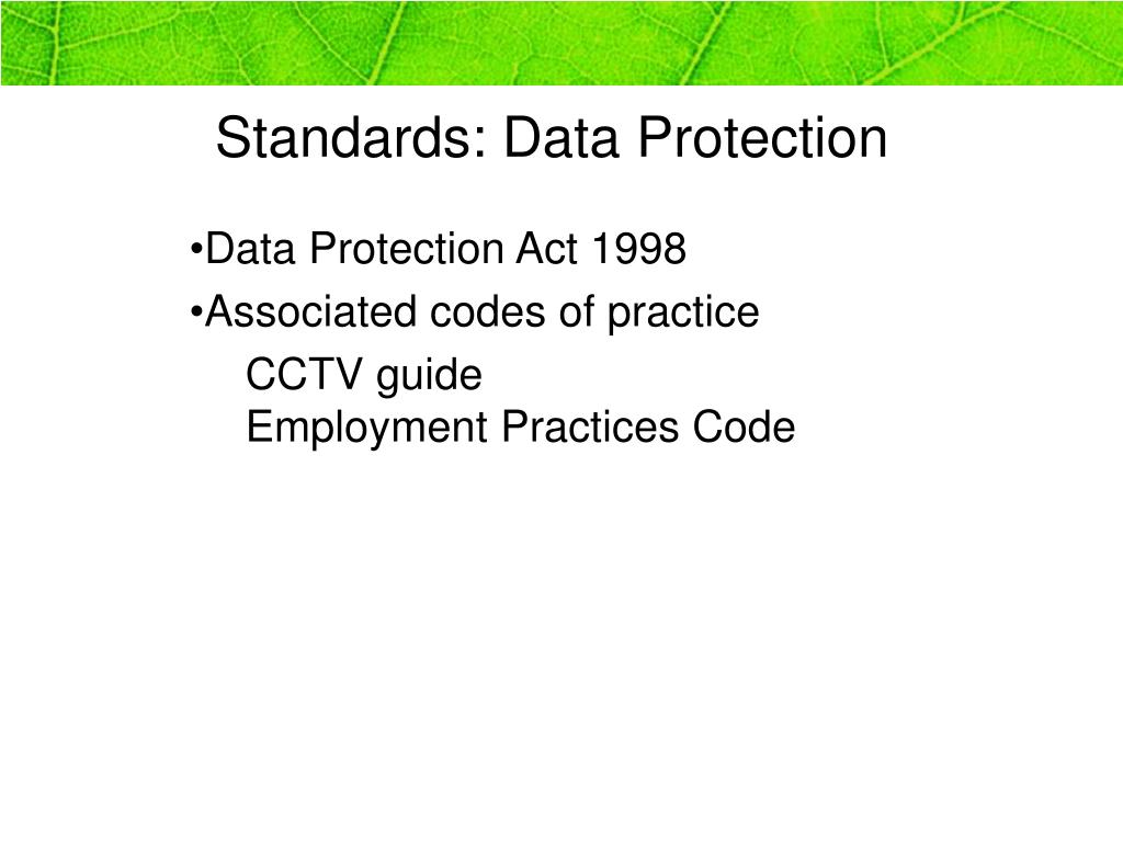 Standards: Data Protection