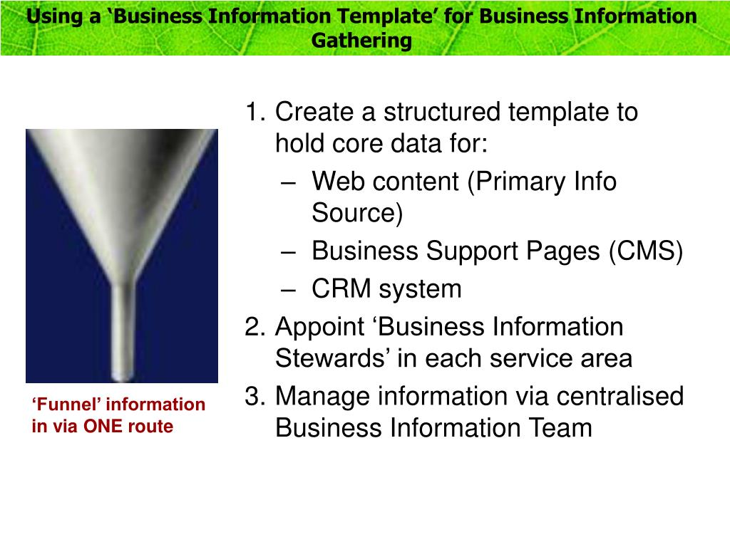 Using a 'Business Information Template' for Business Information Gathering