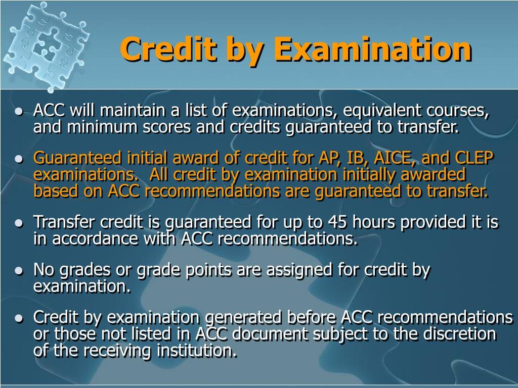 Credit by Examination
