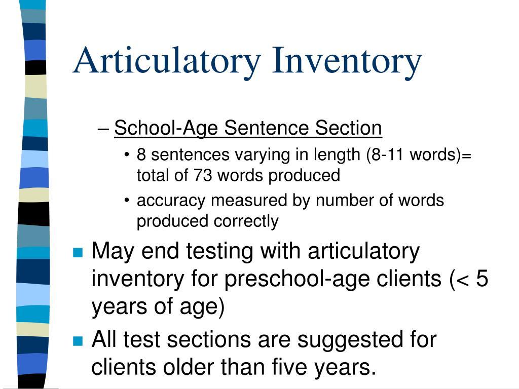 Articulatory Inventory