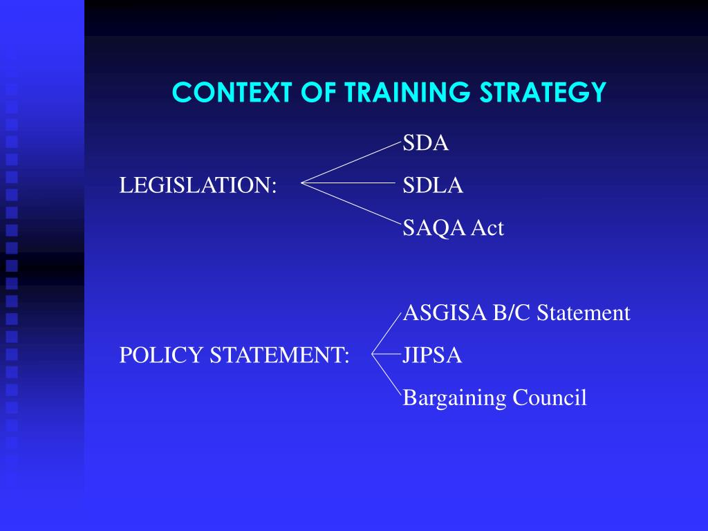 CONTEXT OF TRAINING STRATEGY