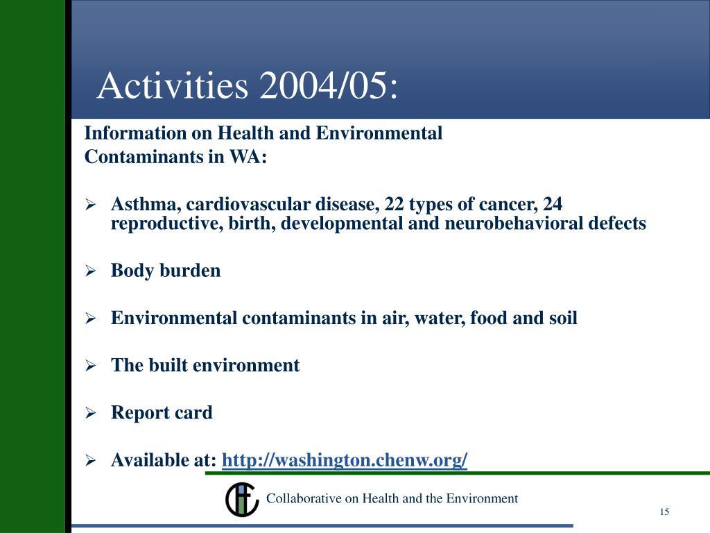 Activities 2004/05: