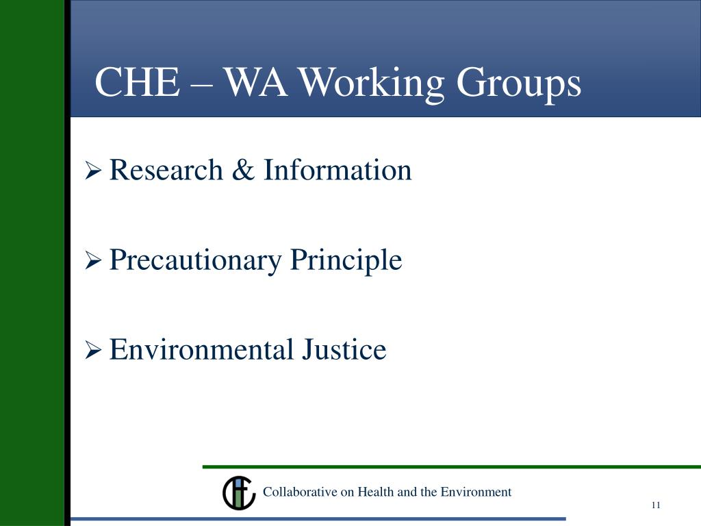 CHE – WA Working Groups