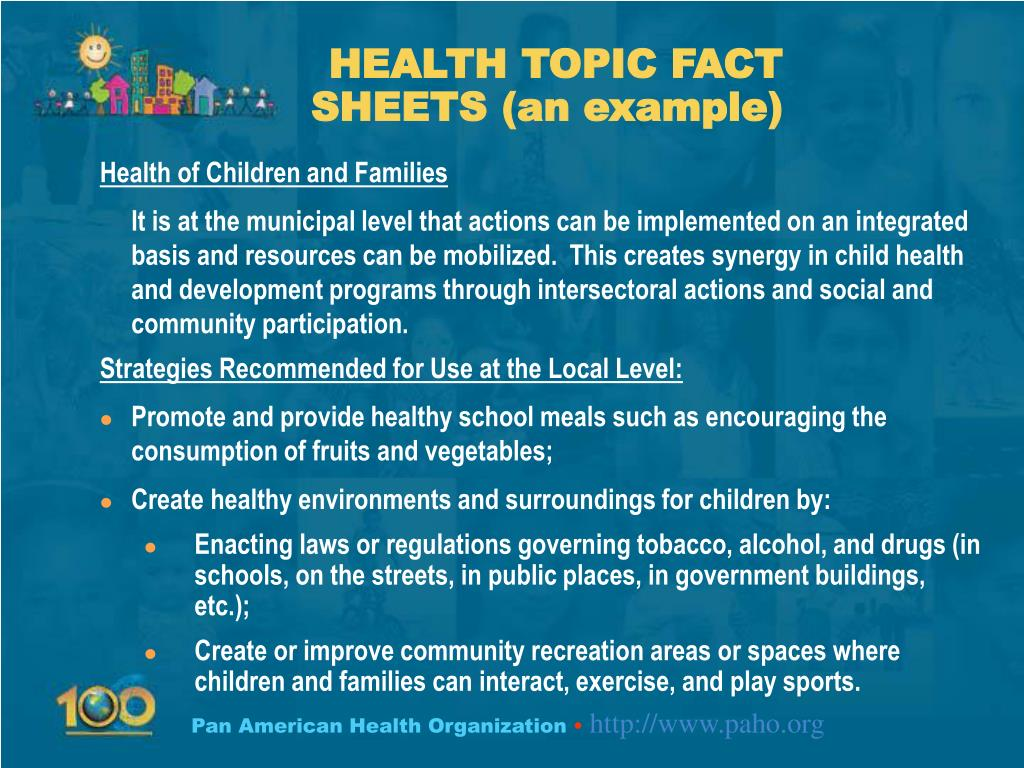 HEALTH TOPIC FACT SHEETS (an example)