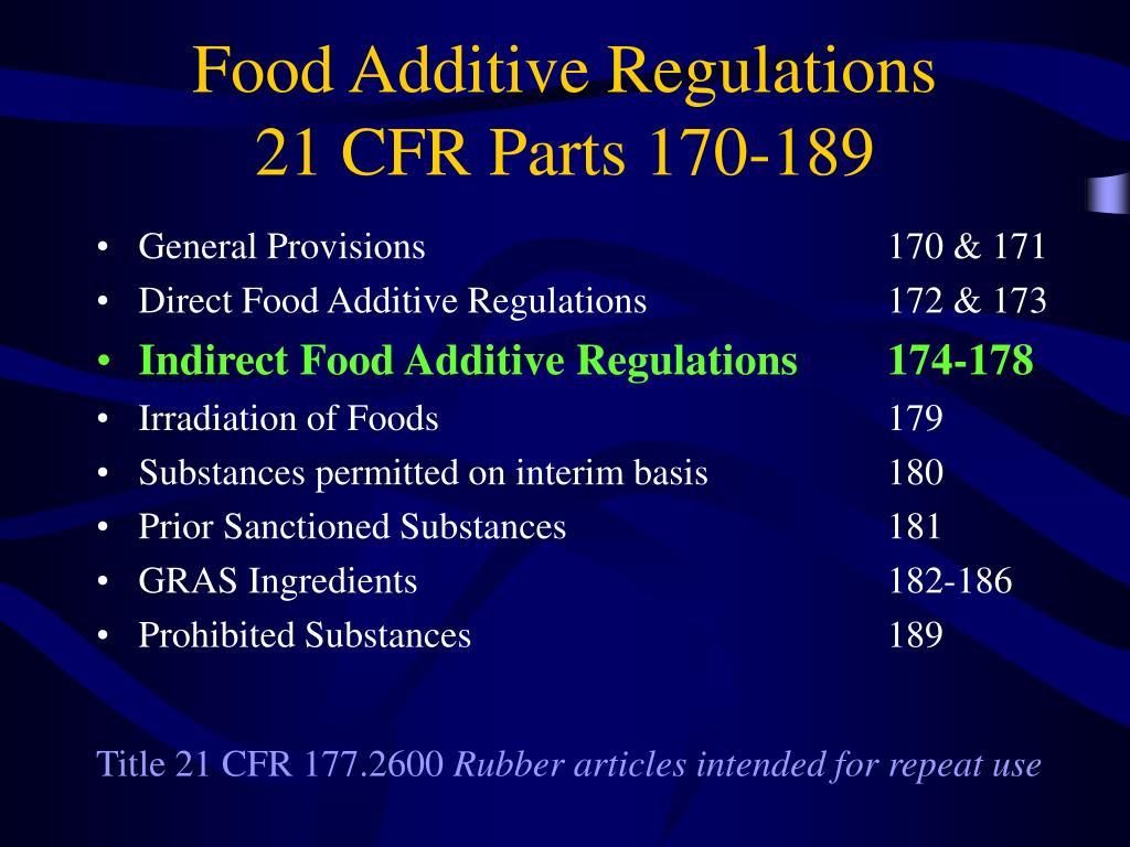 Food Additive Regulations