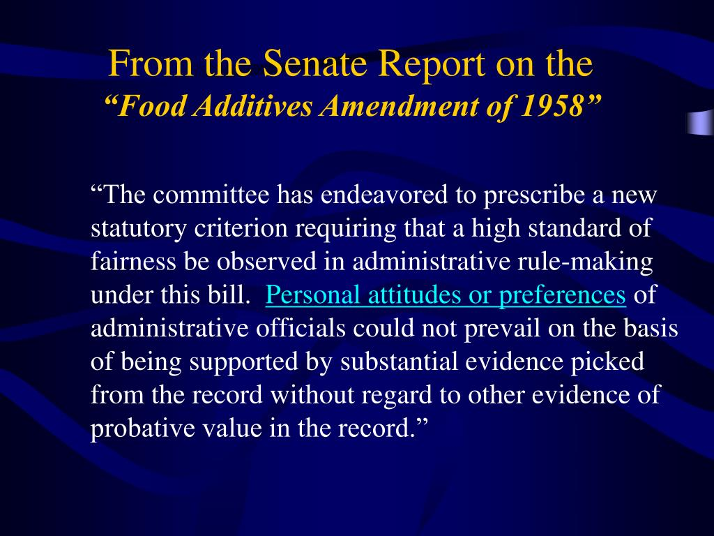 From the Senate Report on the