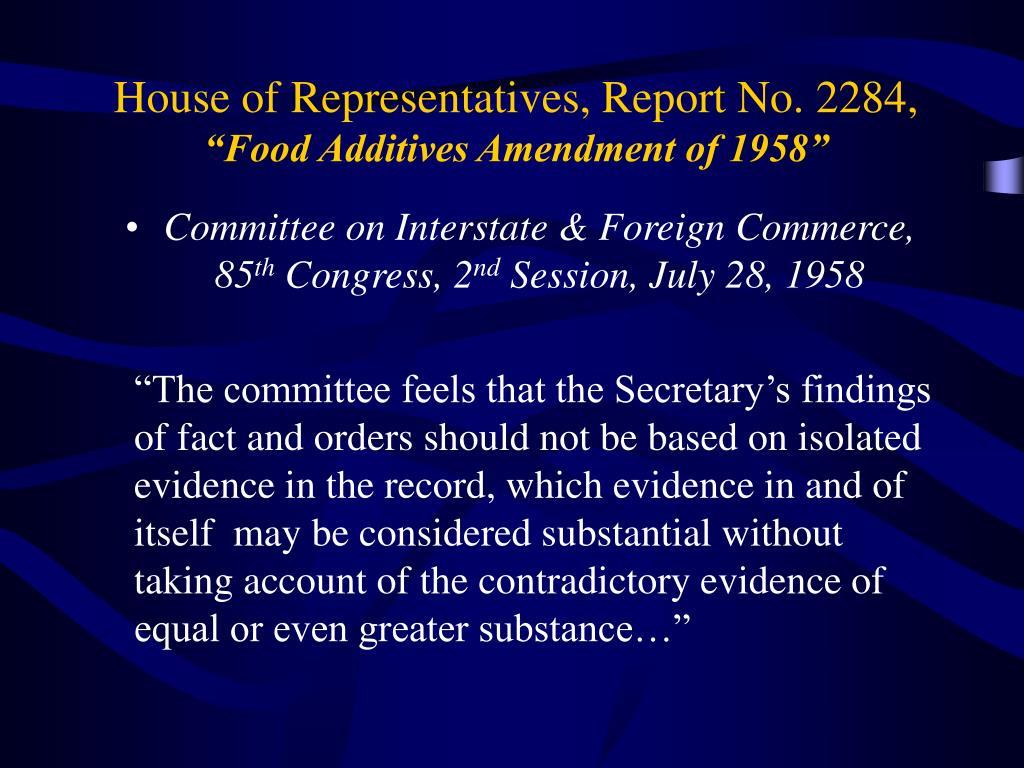 House of Representatives, Report No. 2284,