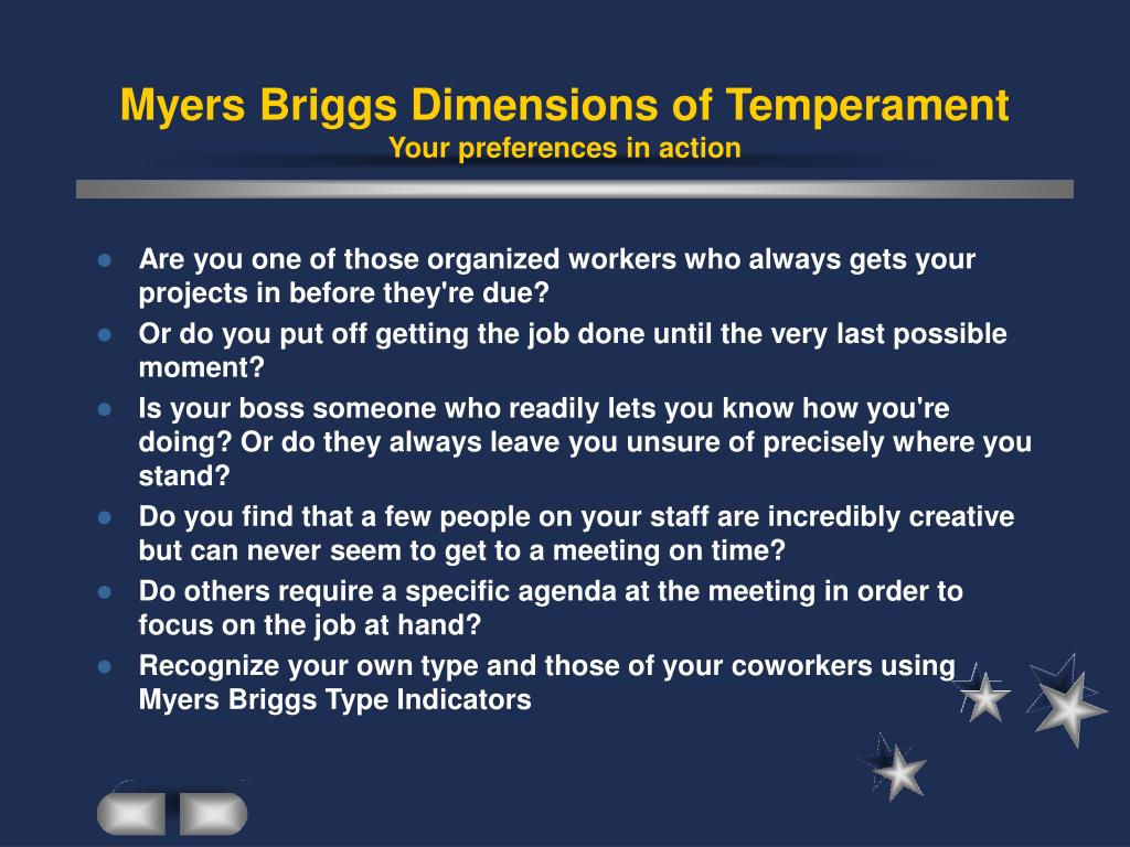 Myers Briggs Dimensions of Temperament