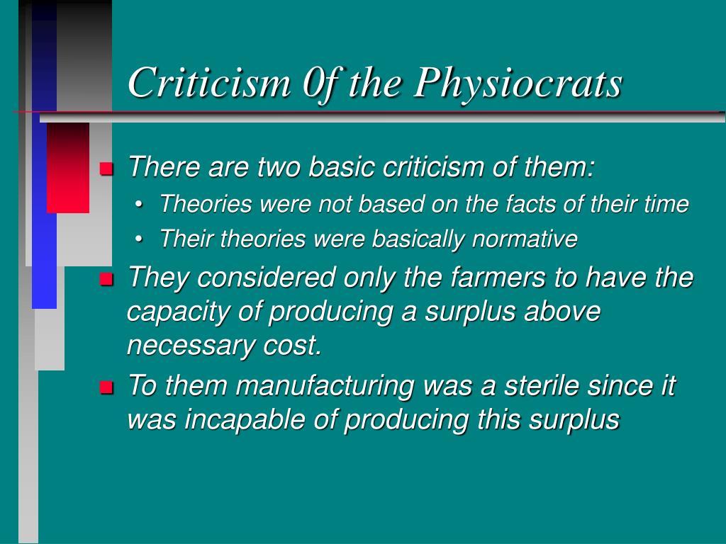 Criticism 0f the Physiocrats