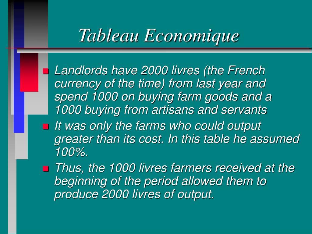 Tableau Economique