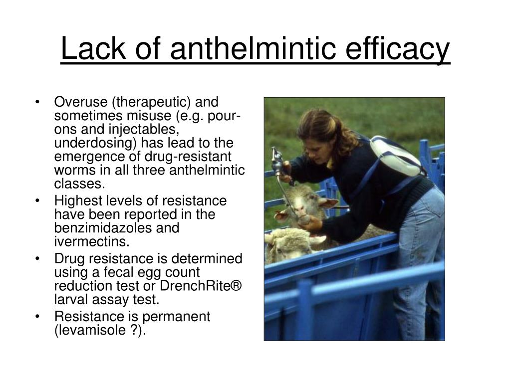 Lack of anthelmintic efficacy