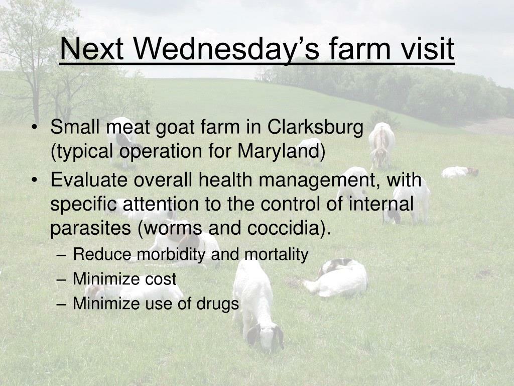 Next Wednesday's farm visit