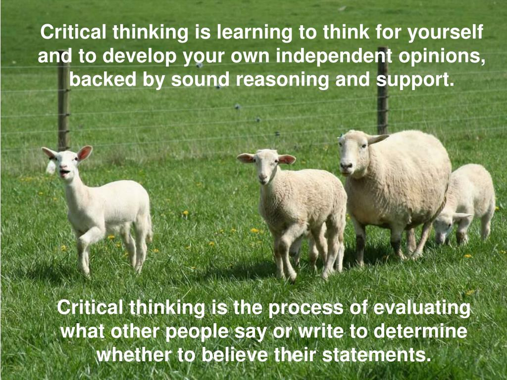 Critical thinking is learning to think for yourself and to develop your own independent opinions, backed by sound reasoning and support.