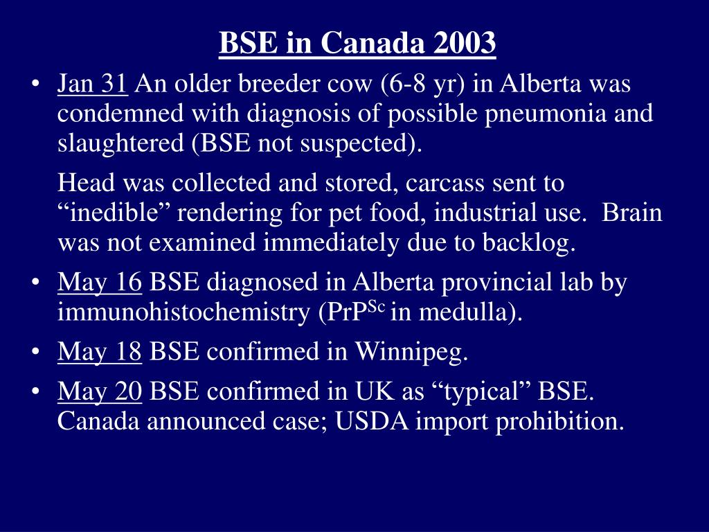 BSE in Canada 2003