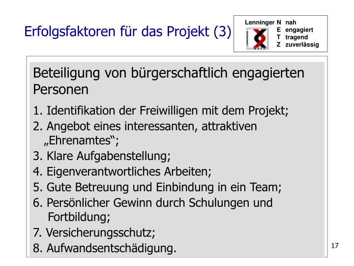 Erfolgsfaktoren für das Projekt (3)