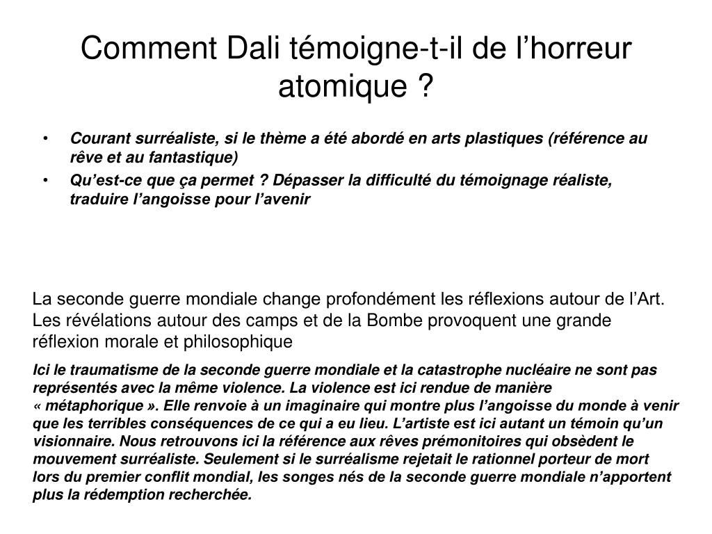 Comment Dali témoigne-t-il de l'horreur atomique ?