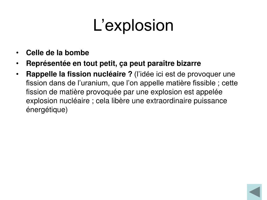 L'explosion