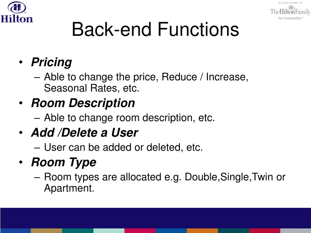 Back-end Functions