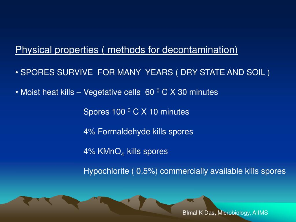 Physical properties ( methods for decontamination)