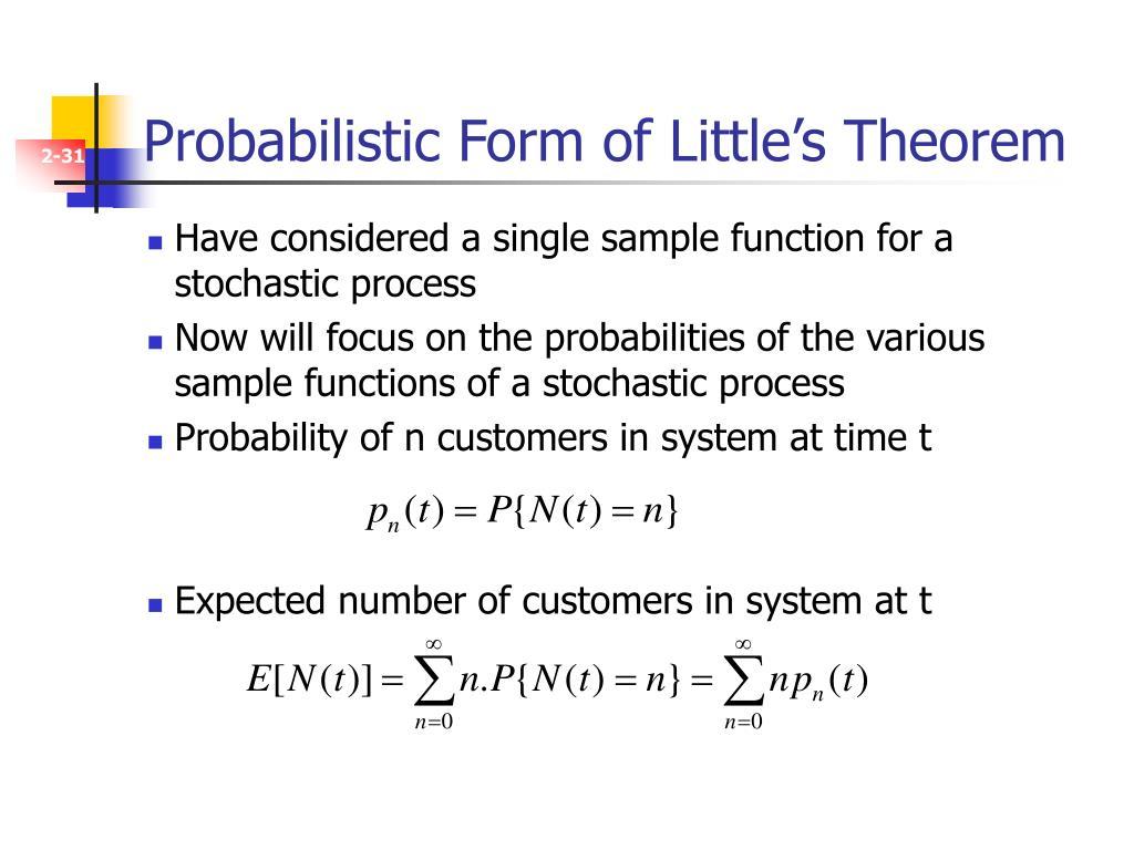 Probabilistic Form of Little's Theorem