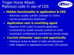 trojan horse attack malicious code in use of cds