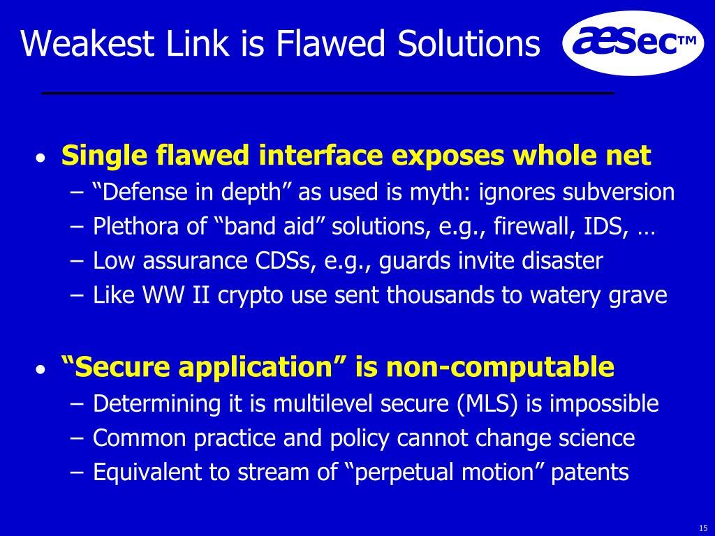 Weakest Link is Flawed Solutions